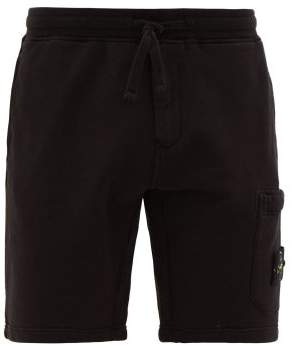 Stone Island Logo-patch Cotton Track Shorts - Mens - Black
