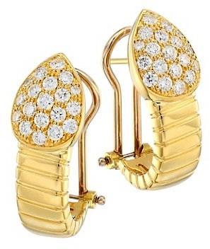 Alberto Milani Via Brera 18K Yellow Gold & Pave Diamond Pear Earrings