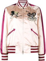 Valentino tattoo embroidered bomber jacket