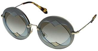 Miu Miu 0MU 01SS (Azure/Hazelnut/Grey Gradient) Fashion Sunglasses