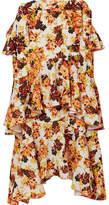 Ellery Saloon Ruffled Floral-print Crepe Midi Skirt - Orange