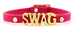 BCBGeneration BCBGenerationTM Fuschia and Gold Swag Rubber Mini Affirmation Braclet