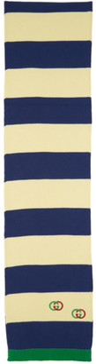 Gucci Off-White and Blue Cotton Interlocking G Scarf