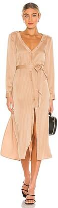 LPA Open Neck Button Up Shirt Dress