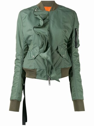 Unravel Project Ruffled Zip-Up Bomber Jacket