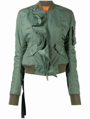 Unravel Project ruffled zip-up bomber jacket