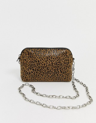 Asos Design DESIGN suede chain cross body bag in leopard print-Multi