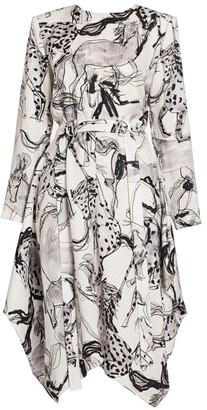 Stella McCartney Belted Horse-Print Silk Dress