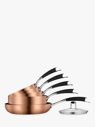 John Lewis & Partners Copper Plated Non-Stick Pan Set, 5 Pieces