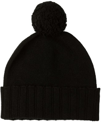Johnstons of Elgin Cashmere Pom Pom Hat Black