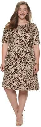 Croft & Barrow Plus Size Elbow Sleeve Knot Front Dress