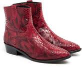 Gestuz Lotus Red Snakeskin Suede Ankle Boot