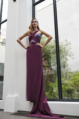 AZZI & OSTA Color Block One Shoulder Gown