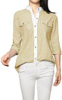 Allegra K Women's Cuffed 3/4 Sleeves Stand Collar Buttoned Striped Shirt M