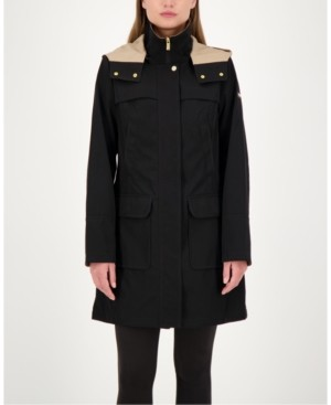 Jones New York Colorblocked A-Line Hooded Raincoat