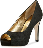 Ron White Brylie Suede Open-Toe Pump, Onyx