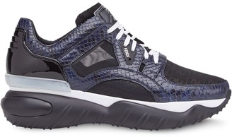 Fendi Snake Skin Effect Lace-Up Sneakers