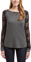 Celeste Gray & Black Lace-Sleeve Raglan Top