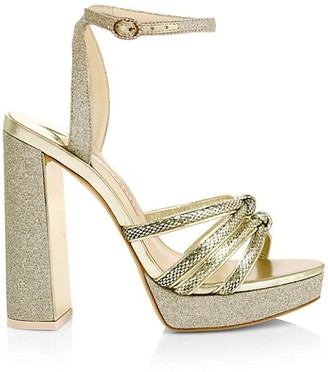 Sophia Webster Glitter Metallic Lizard-Embossed Leather Platform Sandals