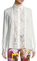 Roberto Cavalli Long-Sleeve Button-Front Lace Inset Silk Blouse