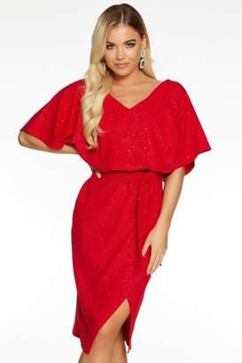 Quiz Red Glitter V Neck Batwing Midi Dress