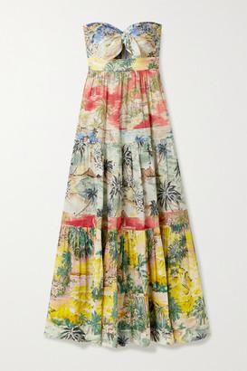 Zimmermann Juliette Strapless Knotted Tiered Printed Linen Maxi Dress - Beige