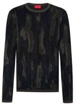 HUGO BOSS - Regular Fit Sweater In Cotton Blend With Camouflage Pattern - Dark Green
