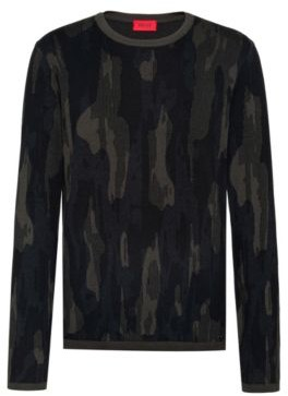 HUGO BOSS Regular Fit Sweater In Cotton Blend With Camouflage Pattern - Dark Green