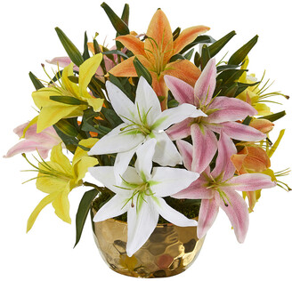 Nearly Natural Lily Artificial Arrangement In Gold Vase