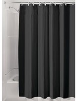 "InterDesign Water-Repellent and Mildew-Resistant Fabric Shower Curtain, 72"" X 96"" - Extra Long, Black"