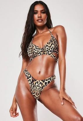 Missguided Leopard Print Mix And Match Cross Front Bikini Top