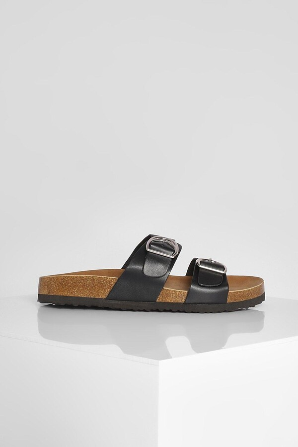 Thumbnail for your product : boohoo Wide Fit Double Strap Buckle Slider