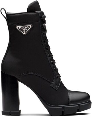 Prada Logo-Plaque Lace-Up Boots