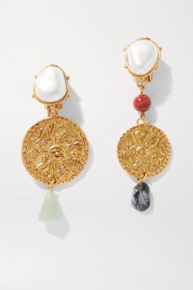 Oscar de la Renta Gold-tone Multi-stone Clip Earrings - one size