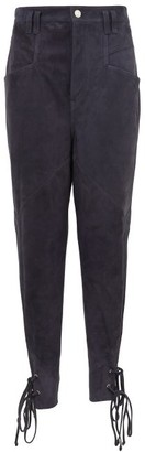 Isabel Marant Adeloisa Panelled Ankle-tie Suede Trousers - Womens - Navy