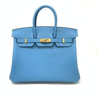 Hermes Birkin 25 Blue Leather Handbags