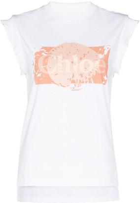Chloé logo-print cap-sleeve T-shirt