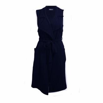Generic Womens Ladies Sleeveless Pocket Long Duster Coat Belted Smart Blazer Size 8-14. (Navy UK Size 12)