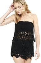 Express black tassel drawstring crochet shorts