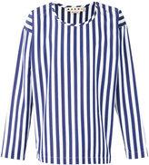Marni striped collarless shirt