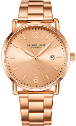 Stuhrling Original Men Gold-Tone Case and Bracelet, Gold Dial Watch