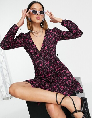 Topshop floral print wrap mini dress in pink
