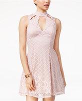 Trixxi Juniors' Lace Border Cutout Dress