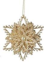 "Kurt Adler 4"" Seasons of Elegance Gold Glittered Snowflake Six-Pointed Star Christmas Ornament"
