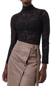French Connection Lace Mock-Neck Top