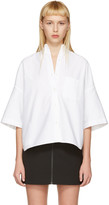 R 13 White Cropped Big Oxford Shirt