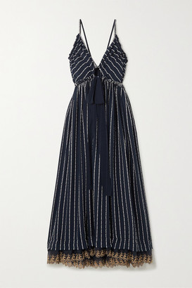 Chloé Striped Silk-blend Mousseline Maxi Dress - Navy