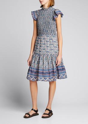 Sea Verbena Smocked Short-Sleeve Dress