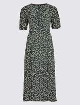 Marks and Spencer Daisy Print Short Sleeve Tea Midi Dress