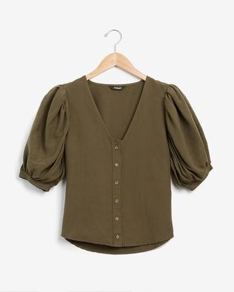Express Linen-Blend Puff Sleeve Top